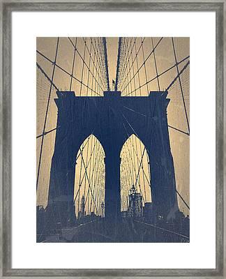 Brooklyn Bridge Blue Framed Print by Naxart Studio