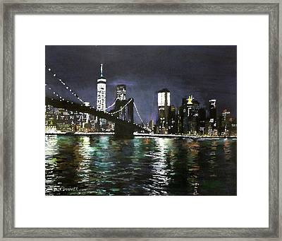 Brooklyn Bridge, East River At Night Framed Print