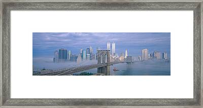 Brooklyn Bridge, East River, New York Framed Print