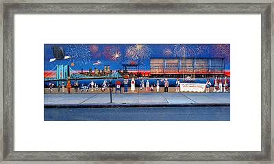 Brooklyn Bridge Fireworks Framed Print by Bonnie Siracusa