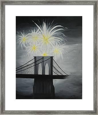 Brooklyn Bridge Fireworks Framed Print by Emily Page