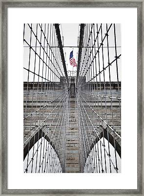 Framed Print featuring the photograph Brooklyn Bridge Flag by Peter Simmons