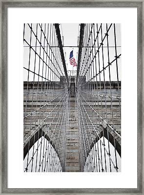 Brooklyn Bridge Flag Framed Print