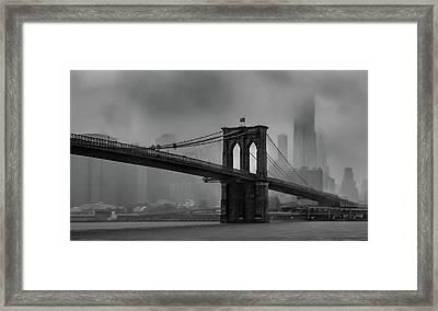 Brooklyn Bridge In A Storm 2 Framed Print