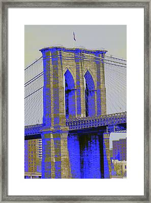 Brooklyn Bridge In Blue Framed Print