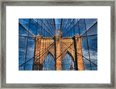 Brooklyn Bridge In The Golden Light Framed Print by Val Black Russian Tourchin