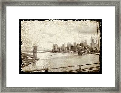 Framed Print featuring the painting Brooklyn Bridge by Joan Reese