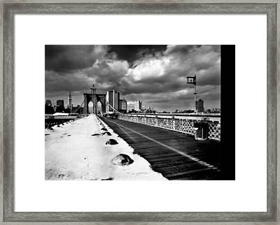Brooklyn Bridge Framed Print by Luca Baldassari