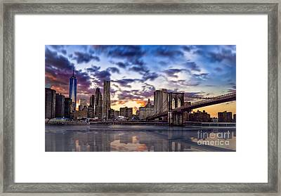 Brooklyn Bridge Manhattan Sunset Framed Print