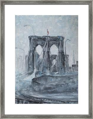 Brooklyn Bridge Framed Print by Natia Tsiklauri