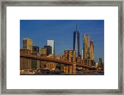 Brooklyn Bridge New York City Sunrise Framed Print