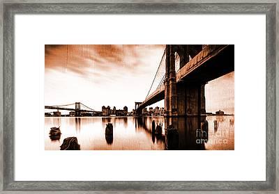 Brooklyn Bridge Ny 02 Framed Print by Gull G