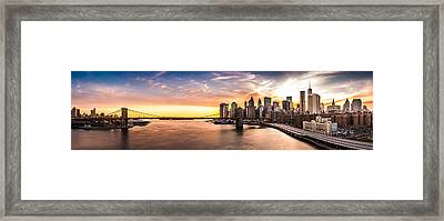 Brooklyn Bridge Panorama Framed Print