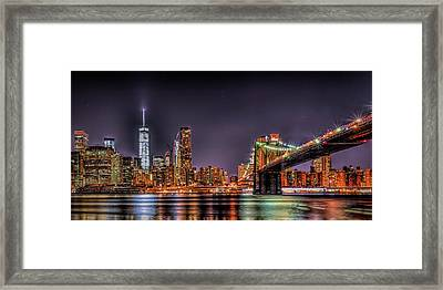 Framed Print featuring the photograph Brooklyn Bridge Park Nights by Theodore Jones