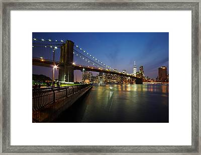 Brooklyn Bridge Park Scenic At Dusk Framed Print by Daniel Portalatin
