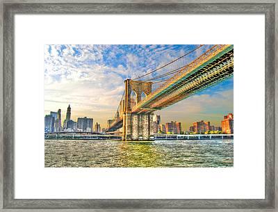 Brooklyn Bridge Framed Print by Randy Aveille