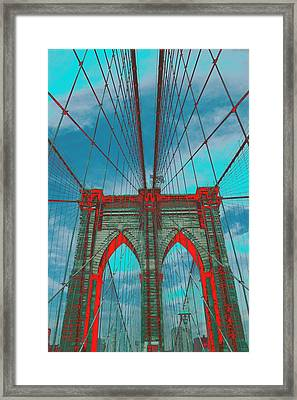 Brooklyn Bridge Red Shadows Framed Print by Christopher Kirby