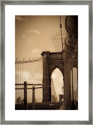 Brooklyn Bridge Span Framed Print by Patrick  Flynn