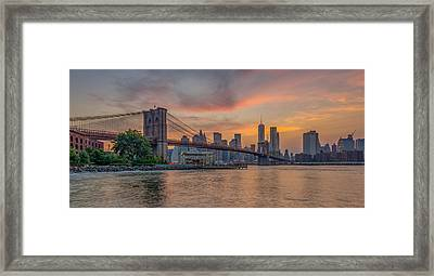 Brooklyn Bridge Summer Sunset Framed Print by Scott McGuire