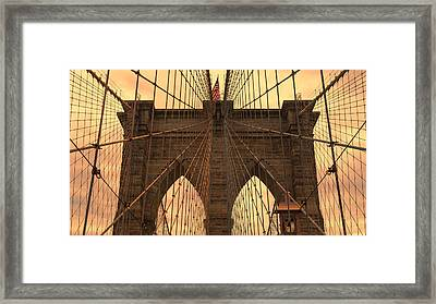 Brooklyn Bridge Sunset Framed Print by Stephen Stookey