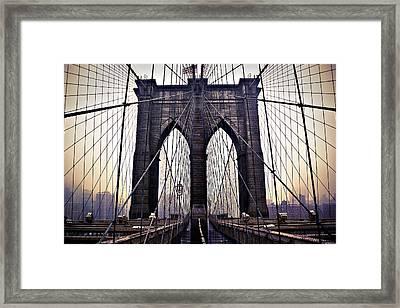 Brooklyn Bridge Suspension Cables Framed Print by Ray Devlin