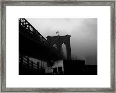 Brooklyn Bridge Through The Windshield Framed Print by Todd Fox