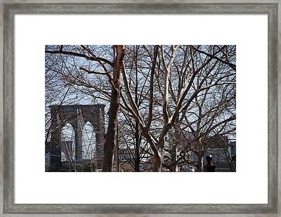 Brooklyn Bridge Thru The Trees Framed Print by Rob Hans