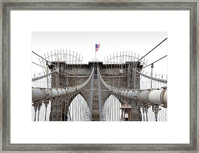 Framed Print featuring the photograph Brooklyn Bridge Top by Peter Simmons