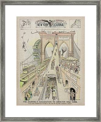 Framed Print featuring the photograph Brooklyn Bridge Trolley Right Of Way Controversy 1897 by Daniel Hagerman