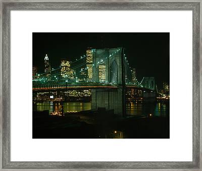 Brooklyn Bridge, View Of The Brooklyn Framed Print by Everett