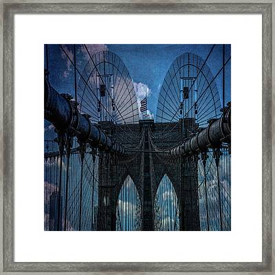 Framed Print featuring the photograph Brooklyn Bridge Webs by Chris Lord
