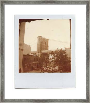 Brooklyn Bridge With Ip Px100 Film Framed Print