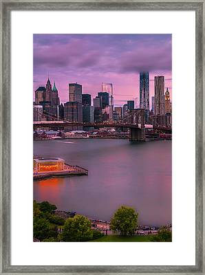 Framed Print featuring the photograph Brooklyn Bridge World Trade Center In New York City by Ranjay Mitra