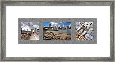 Brooklyn Bridge...triptych Framed Print by Arkadiy Bogatyryov