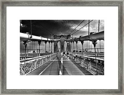 Brooklyn Brige Framed Print by Andrew Dinh