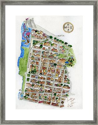 Brooklyn Heights Map Framed Print by AFineLyne