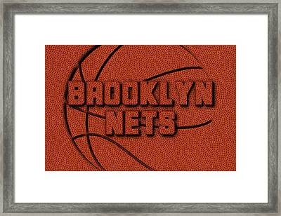 Brooklyn Nets Leather Art Framed Print