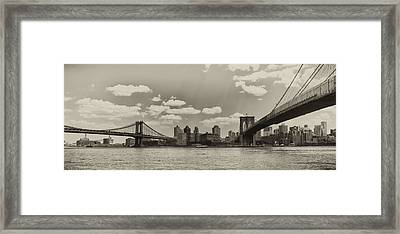 Brooklyn New York From Manhattan In Sepia Framed Print by Bill Cannon