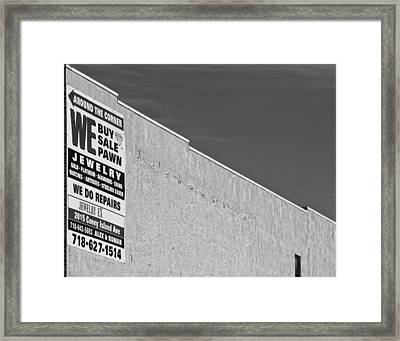 Brooklyn Pawnshop Sign Framed Print by Robert Ullmann