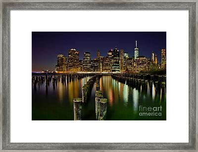Brooklyn Pier At Night Framed Print by Az Jackson