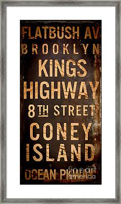 Brooklyn Street Sign Framed Print by Mindy Sommers
