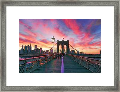 Brooklyn Sunset Framed Print by Rick Berk