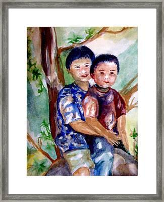 Brothers Bonding Framed Print by Matthew Doronila