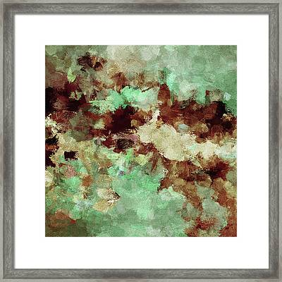 Brown Abstract Acrylic Painting Framed Print by Ayse Deniz