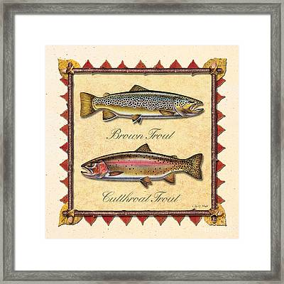 Brown And Cutthroat Creme Framed Print by JQ Licensing