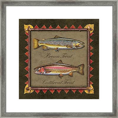 Brown And Cutthroat Trout Framed Print by JQ Licensing