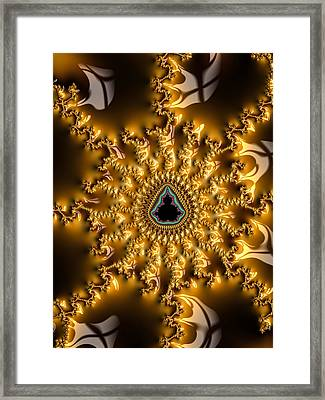 Brown And Golden Abstract Fractal Art Framed Print