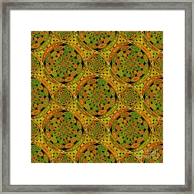 Brown And Green Circles Framed Print