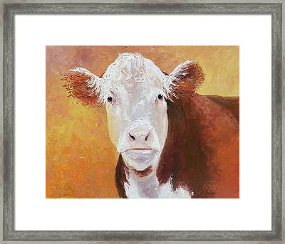 Brown And White Hereford Cow Painting Framed Print by Jan Matson