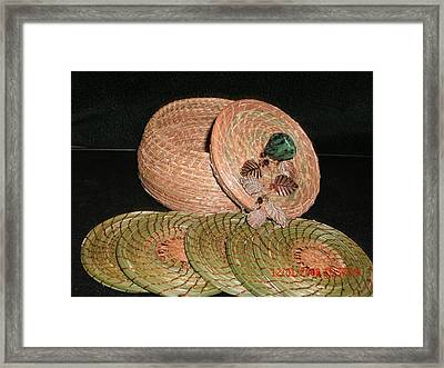 Brown Basket With Coasters Framed Print